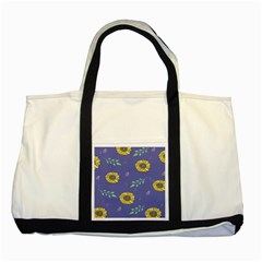 Floral Flower Rose Sunflower Star Leaf Pink Green Blue Yelllow Two Tone Tote Bag by Alisyart