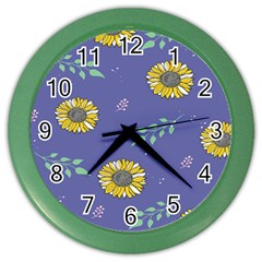 Floral Flower Rose Sunflower Star Leaf Pink Green Blue Yelllow Color Wall Clocks by Alisyart