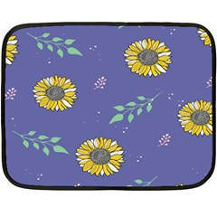 Floral Flower Rose Sunflower Star Leaf Pink Green Blue Yelllow Fleece Blanket (mini) by Alisyart