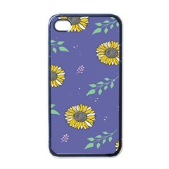 Floral Flower Rose Sunflower Star Leaf Pink Green Blue Yelllow Apple Iphone 4 Case (black) by Alisyart
