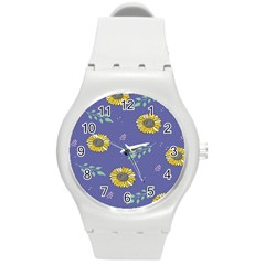 Floral Flower Rose Sunflower Star Leaf Pink Green Blue Yelllow Round Plastic Sport Watch (m) by Alisyart