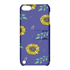 Floral Flower Rose Sunflower Star Leaf Pink Green Blue Yelllow Apple Ipod Touch 5 Hardshell Case With Stand