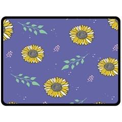 Floral Flower Rose Sunflower Star Leaf Pink Green Blue Yelllow Double Sided Fleece Blanket (large)