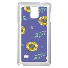 Floral Flower Rose Sunflower Star Leaf Pink Green Blue Yelllow Samsung Galaxy Note 4 Case (white) by Alisyart