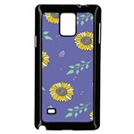 Floral Flower Rose Sunflower Star Leaf Pink Green Blue Yelllow Samsung Galaxy Note 4 Case (Black) Front