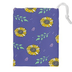 Floral Flower Rose Sunflower Star Leaf Pink Green Blue Yelllow Drawstring Pouches (xxl) by Alisyart