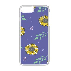 Floral Flower Rose Sunflower Star Leaf Pink Green Blue Yelllow Apple Iphone 7 Plus White Seamless Case