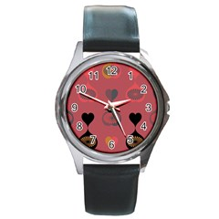 Heart Love Fan Circle Pink Blue Black Orange Round Metal Watch by Alisyart