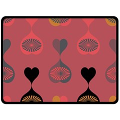 Heart Love Fan Circle Pink Blue Black Orange Double Sided Fleece Blanket (large)  by Alisyart