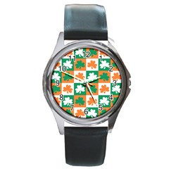 Ireland Leaf Vegetables Green Orange White Round Metal Watch by Alisyart