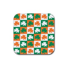 Ireland Leaf Vegetables Green Orange White Rubber Coaster (square)  by Alisyart
