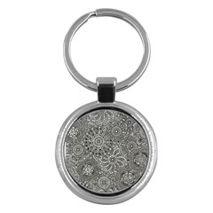 Flower Floral Rose Sunflower Black White Key Chains (round)  by Alisyart
