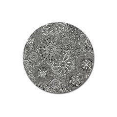Flower Floral Rose Sunflower Black White Magnet 3  (round) by Alisyart
