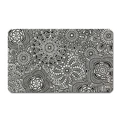 Flower Floral Rose Sunflower Black White Magnet (rectangular) by Alisyart