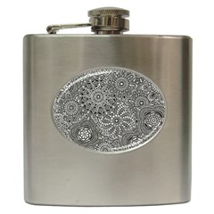 Flower Floral Rose Sunflower Black White Hip Flask (6 Oz) by Alisyart