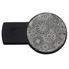 Flower Floral Rose Sunflower Black White Usb Flash Drive Round (2 Gb) by Alisyart