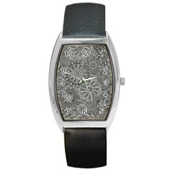 Flower Floral Rose Sunflower Black White Barrel Style Metal Watch