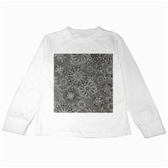 Flower Floral Rose Sunflower Black White Kids Long Sleeve T Shirts