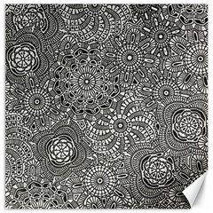 Flower Floral Rose Sunflower Black White Canvas 20  X 20