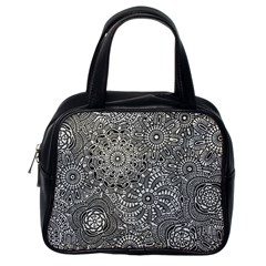 Flower Floral Rose Sunflower Black White Classic Handbags (one Side) by Alisyart