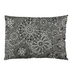 Flower Floral Rose Sunflower Black White Pillow Case by Alisyart