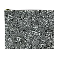 Flower Floral Rose Sunflower Black White Cosmetic Bag (xl)