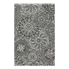 Flower Floral Rose Sunflower Black White Shower Curtain 48  X 72  (small)  by Alisyart