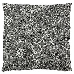 Flower Floral Rose Sunflower Black White Large Cushion Case (two Sides)