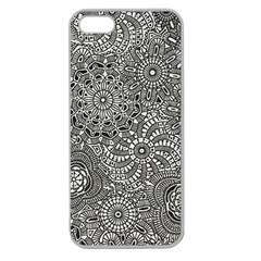 Flower Floral Rose Sunflower Black White Apple Seamless Iphone 5 Case (clear) by Alisyart