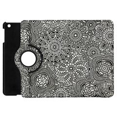 Flower Floral Rose Sunflower Black White Apple Ipad Mini Flip 360 Case by Alisyart