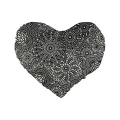 Flower Floral Rose Sunflower Black White Standard 16  Premium Heart Shape Cushions by Alisyart