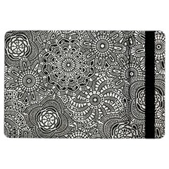 Flower Floral Rose Sunflower Black White Ipad Air 2 Flip by Alisyart