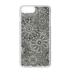 Flower Floral Rose Sunflower Black White Apple Iphone 7 Plus White Seamless Case