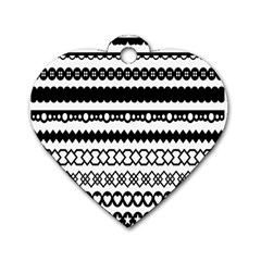 Love Heart Triangle Circle Black White Dog Tag Heart (two Sides) by Alisyart
