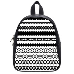 Love Heart Triangle Circle Black White School Bags (small)  by Alisyart