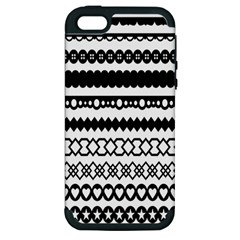 Love Heart Triangle Circle Black White Apple Iphone 5 Hardshell Case (pc+silicone)