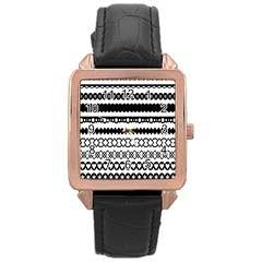 Love Heart Triangle Circle Black White Rose Gold Leather Watch  by Alisyart