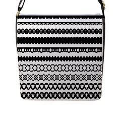 Love Heart Triangle Circle Black White Flap Messenger Bag (l)  by Alisyart