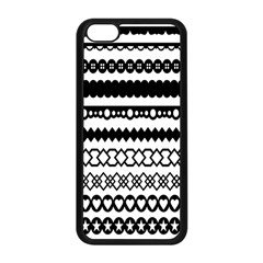 Love Heart Triangle Circle Black White Apple Iphone 5c Seamless Case (black)