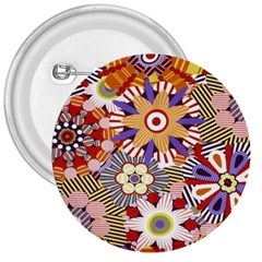 Flower Floral Sunflower Rainbow Frame 3  Buttons