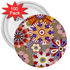Flower Floral Sunflower Rainbow Frame 3  Buttons (100 Pack)  by Alisyart