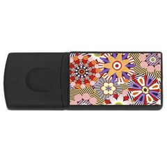 Flower Floral Sunflower Rainbow Frame Usb Flash Drive Rectangular (4 Gb)