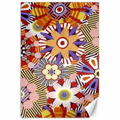 Flower Floral Sunflower Rainbow Frame Canvas 20  X 30   by Alisyart