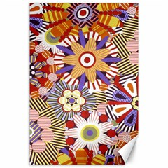 Flower Floral Sunflower Rainbow Frame Canvas 24  X 36  by Alisyart