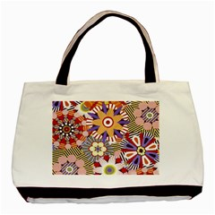 Flower Floral Sunflower Rainbow Frame Basic Tote Bag (two Sides) by Alisyart