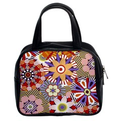 Flower Floral Sunflower Rainbow Frame Classic Handbags (2 Sides)