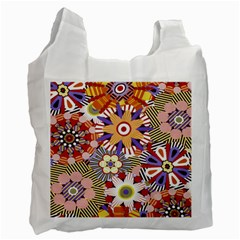 Flower Floral Sunflower Rainbow Frame Recycle Bag (two Side)  by Alisyart
