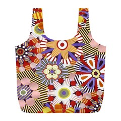 Flower Floral Sunflower Rainbow Frame Full Print Recycle Bags (l)  by Alisyart