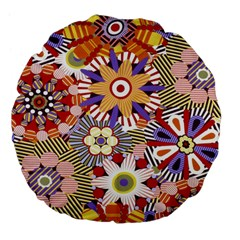 Flower Floral Sunflower Rainbow Frame Large 18  Premium Flano Round Cushions