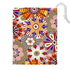 Flower Floral Sunflower Rainbow Frame Drawstring Pouches (xxl) by Alisyart